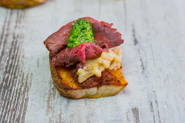 Roast-beef á kartöflu & risotto.
